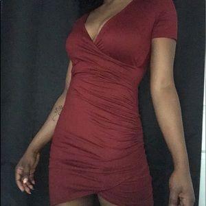 Red bandaged wrap dress
